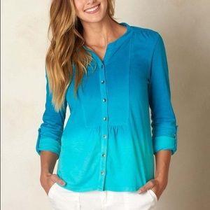 NWT PrAna Tidal Teal Linen-Blend Amber Shirt